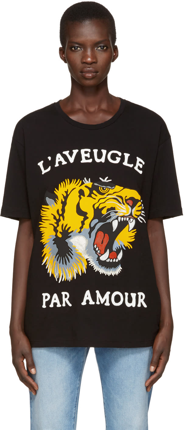 gucci female 188971 gucci black roaring tiger tshirt
