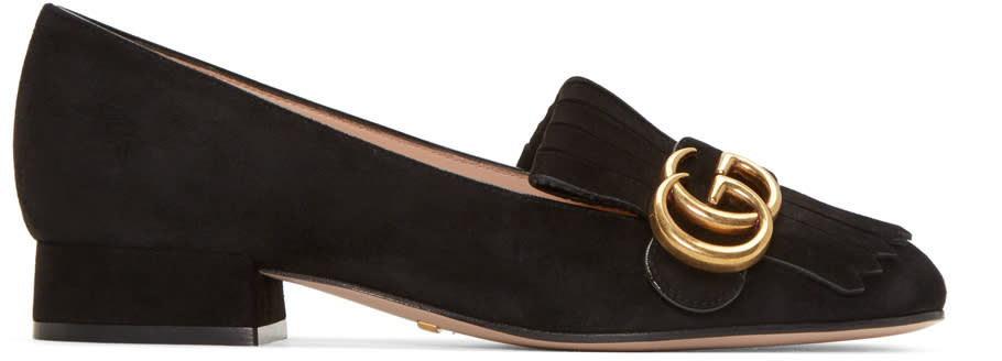 gucci female 188971 gucci black fringe marmont loafer