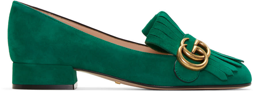 gucci female 227429 gucci green fringe marmont loafer