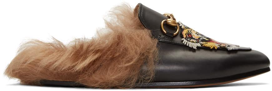 gucci female gucci black tiger princetown slipon loafers