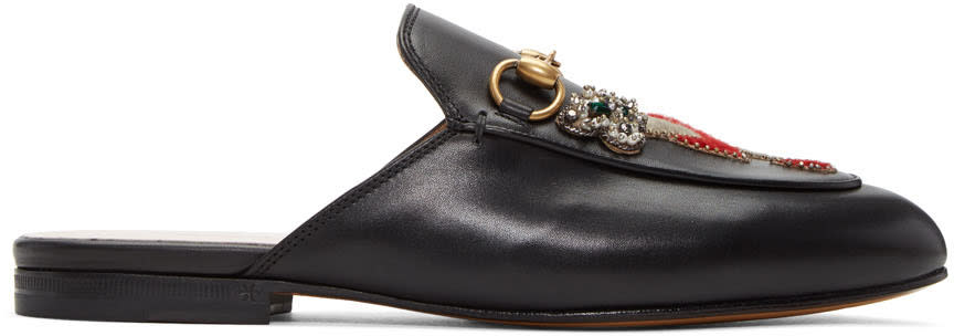 Gucci Black Tiger and Pierced Heart Princetown Slippers