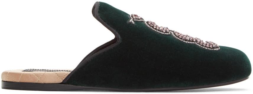 Gucci Green Velvet Snake Lawrence Slippers