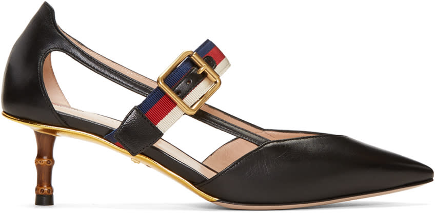 gucci female gucci black unia bamboo heels