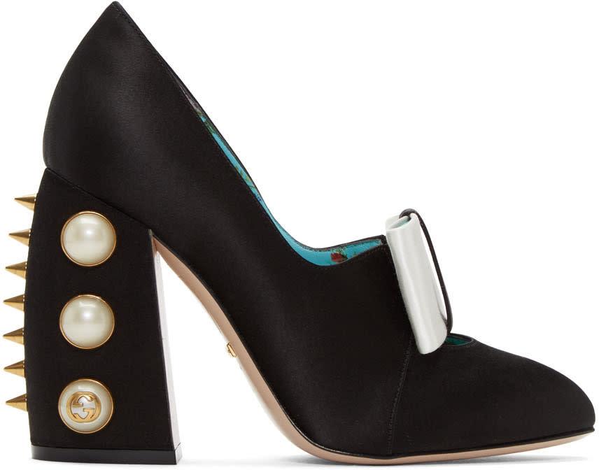 Gucci Black Satin Studded Luna Heels