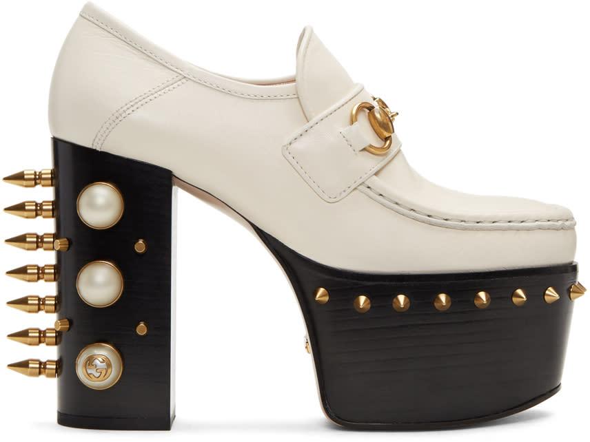 Gucci Off-white Vegas Platform Loafer Heels