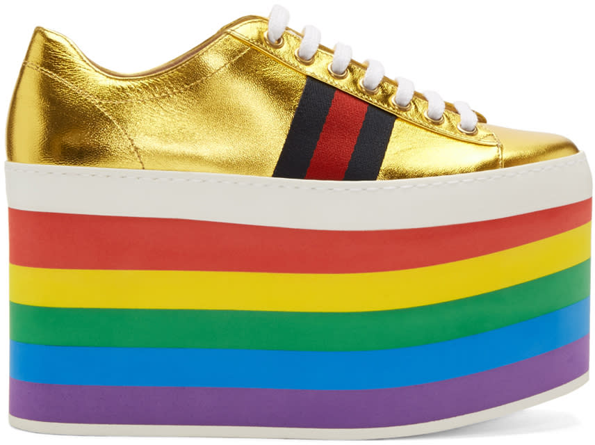 debb4a40005 Gucci Gold Peggy Platform Sneakers