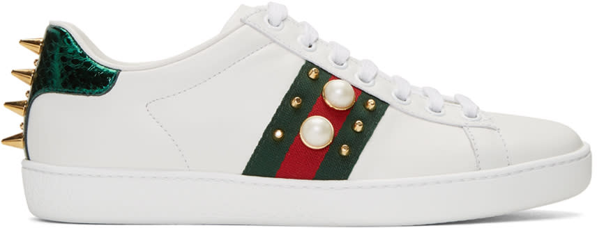 gucci female gucci white studded ace sneakers