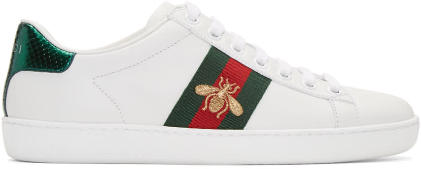 Gucci White Leather Bee Stripe New Ace Sneakers