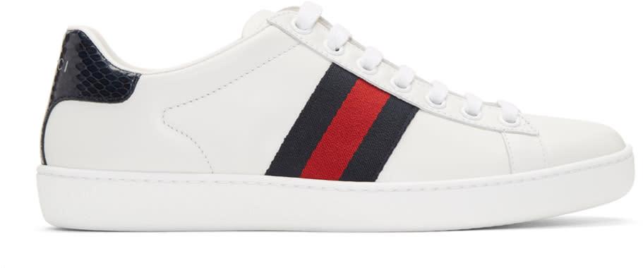 gucci female 45883 gucci white leather stripe new ace sneakers