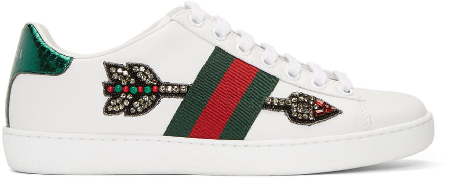gucci female gucci white bleeding arrow ace sneakers