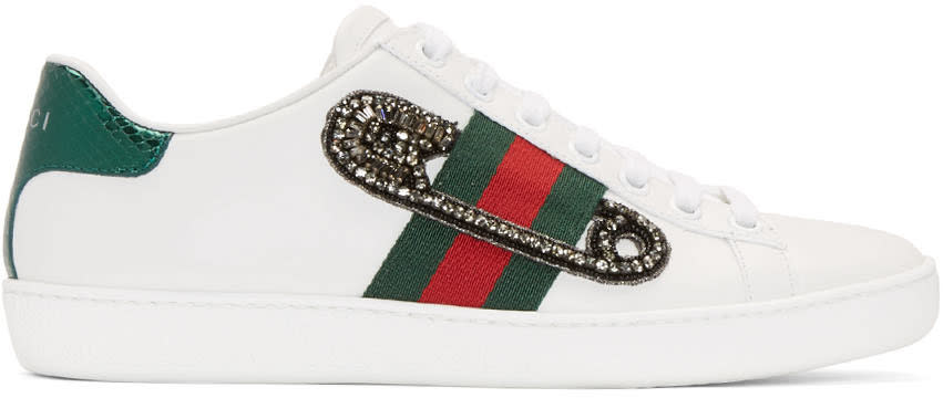 95983213a3799 Gucci White Safety Pin New Ace Sneakers