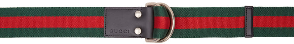 Gucci Green and Red Slider Belt