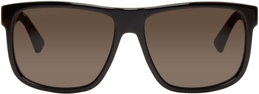 Gucci ブラック オーバーサイズ ウェイフェアラー サングラス