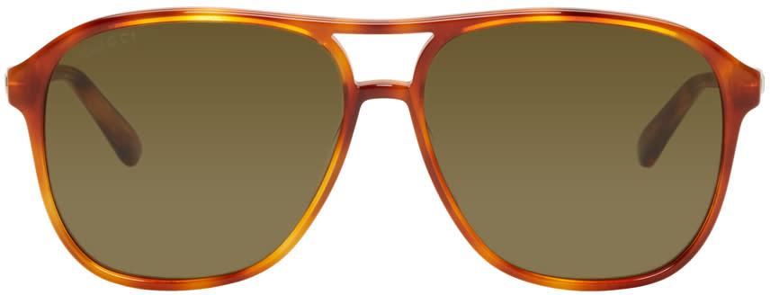 c0dda39329 Gucci Tortoiseshell Retro Aviator Sunglasses