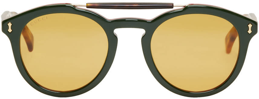 Gucci Green and Red Opulent Luxury Vintage Pilot Sunglasses