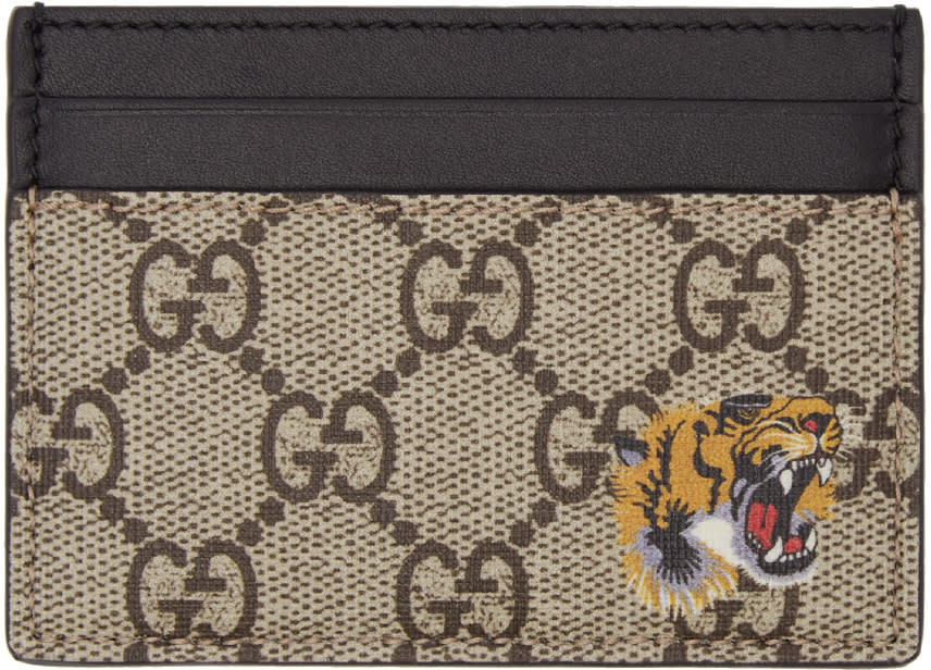 gucci male 186518 gucci beige logo and tiger card holder