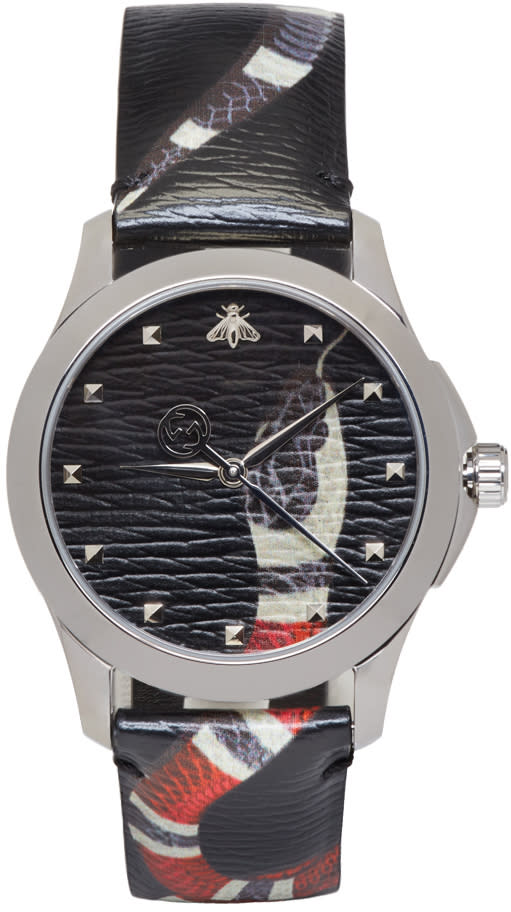Gucci Silver and Black Le Marche Des Merveilles Snake Watch