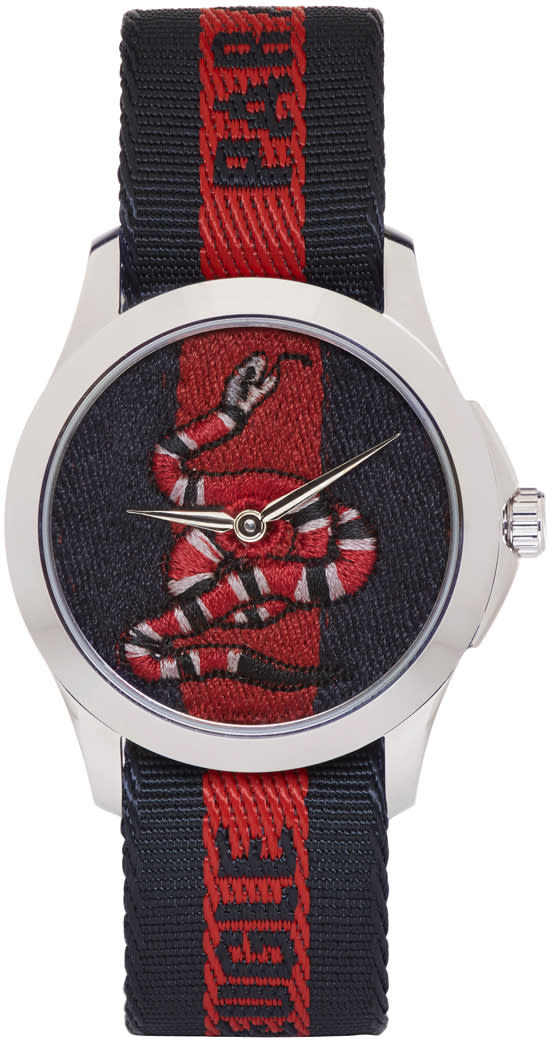 Gucci Silver and Navy laveugle Par Amour Snake Watch