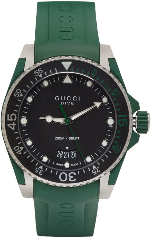 Gucci Green and Silver Dive Watch