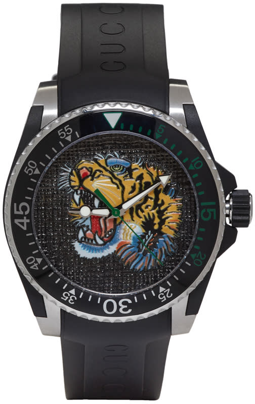 Gucci Black and Silver Dive Tiger Watch