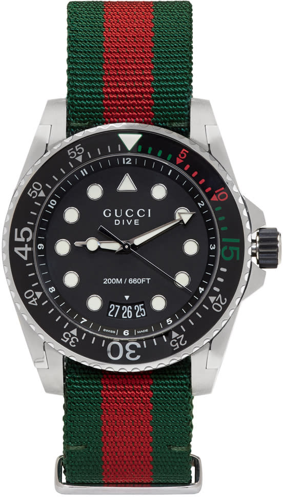 Gucci Green and Red Web Xl Dive Watch