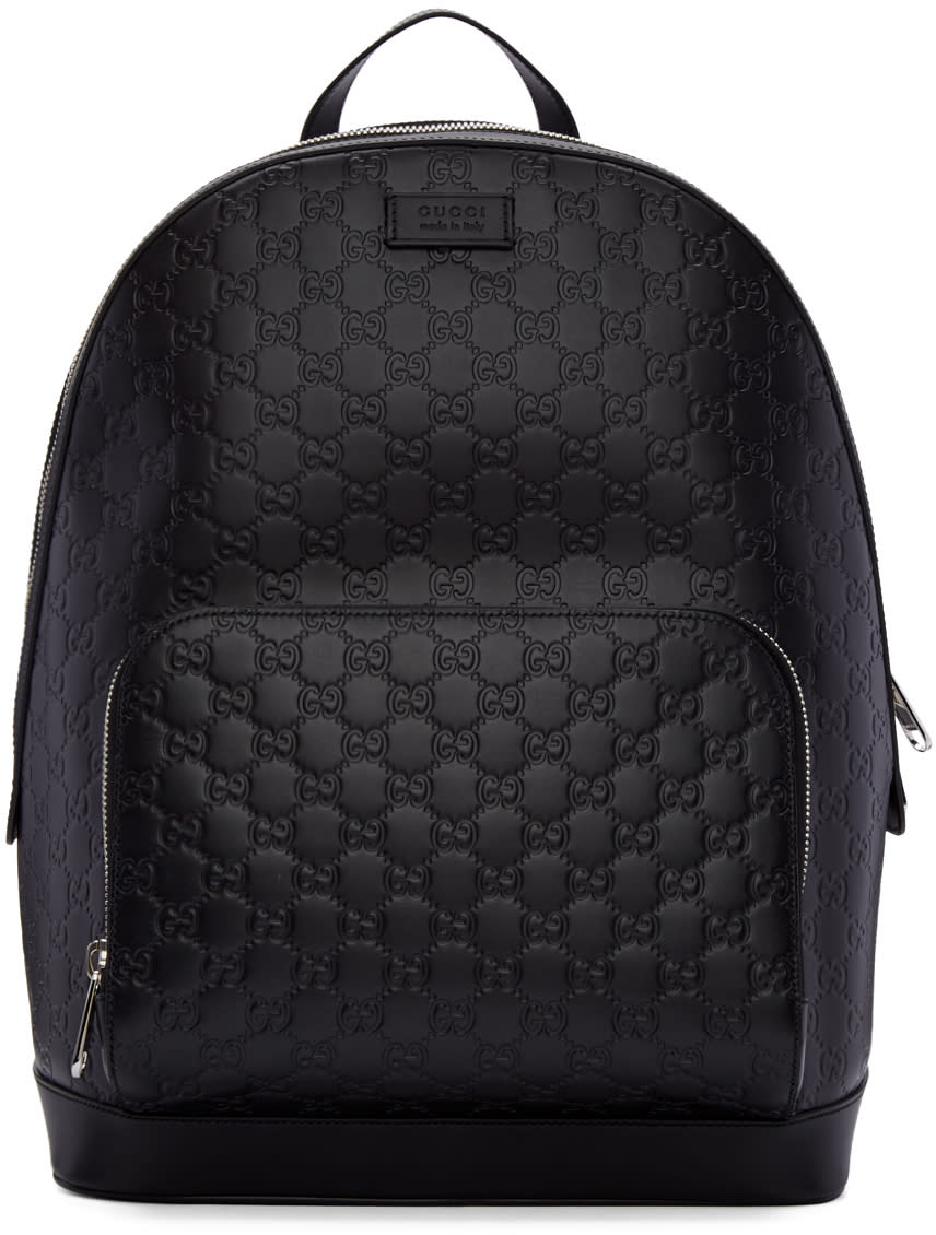 gucci male gucci black leather signature backpack