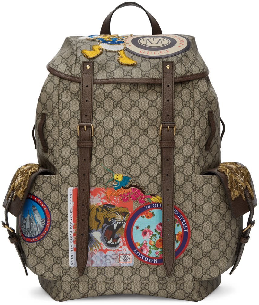 Gucci Beige Gg Supreme Donald Duck Backpack