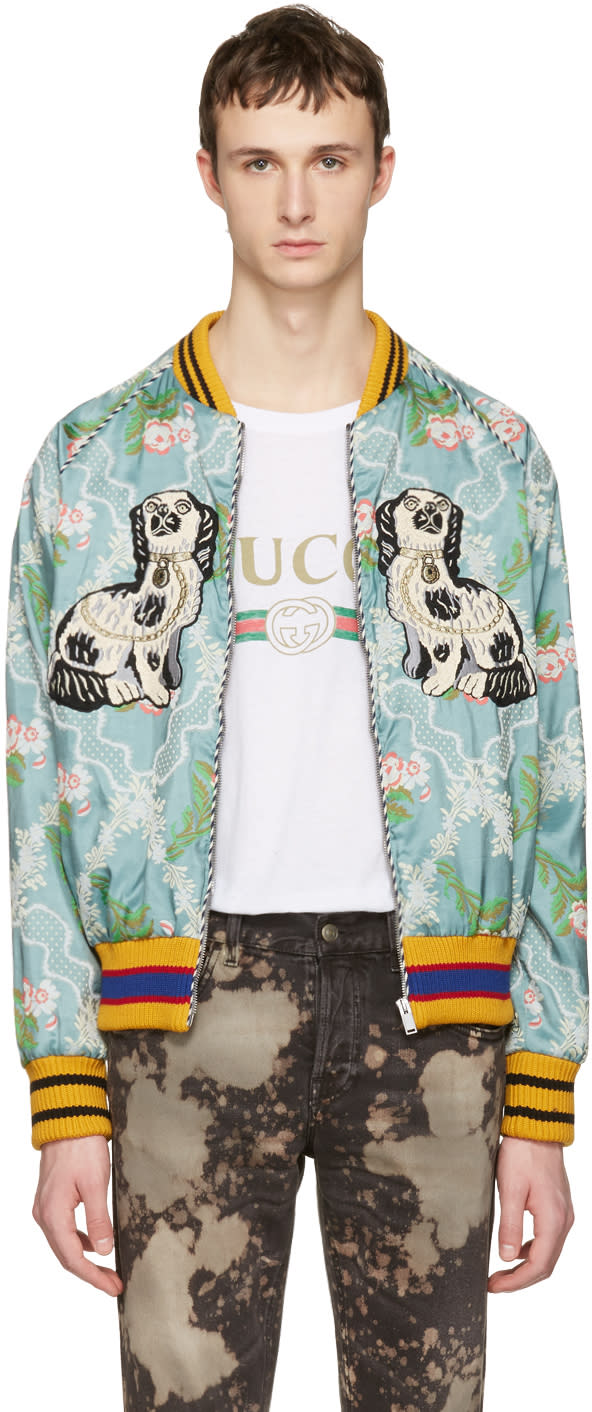 gucci male gucci multicolor floral jacquard bomber jacket