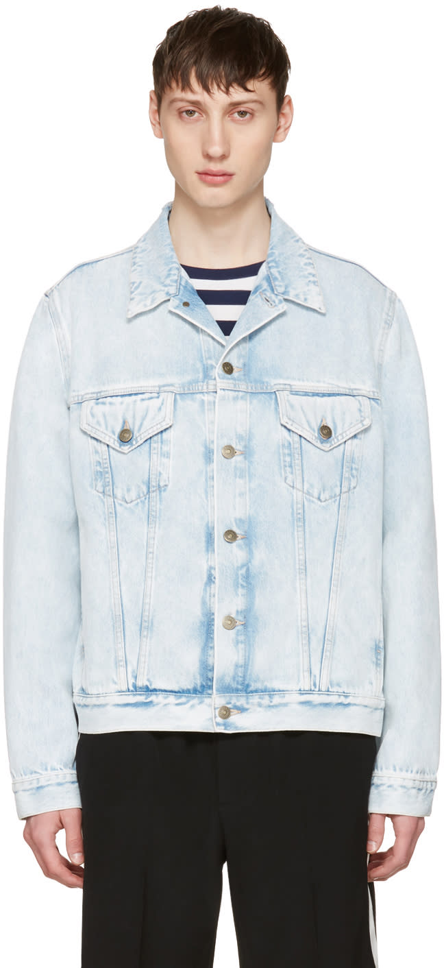 Gucci Blue Denim loved Angry Cat Embroidery Jacket