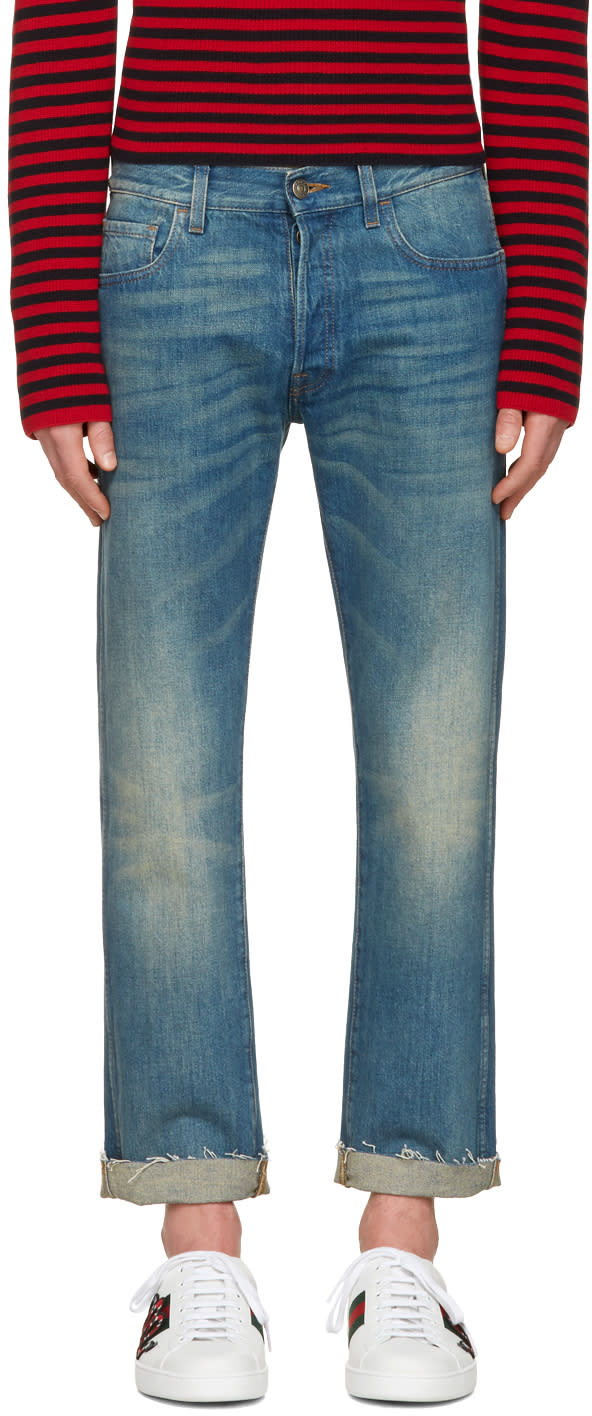 gucci male gucci indigo tiger cropped jeans