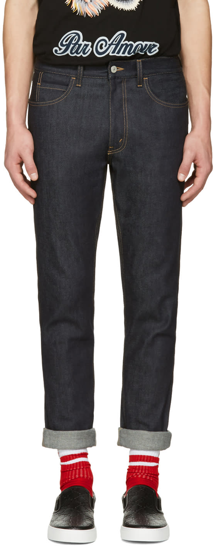 gucci male 124308 gucci indigo slim tiger jeans