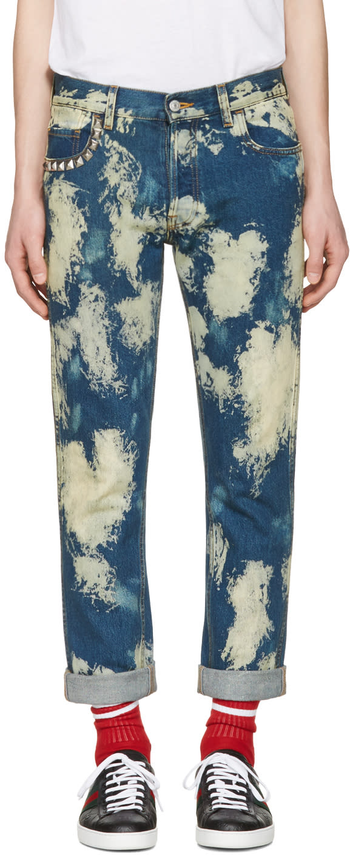 gucci male 201920 gucci blue bleached denim punk jeans