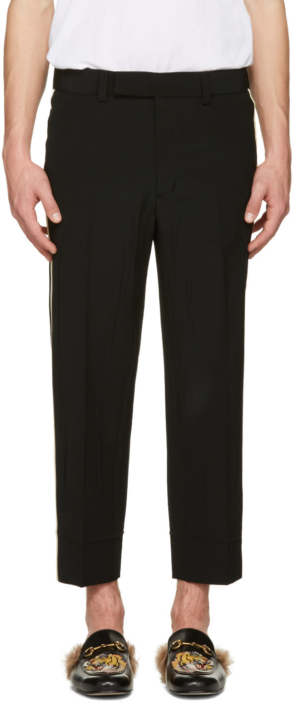 gucci male 188971 gucci black wrinkled trousers
