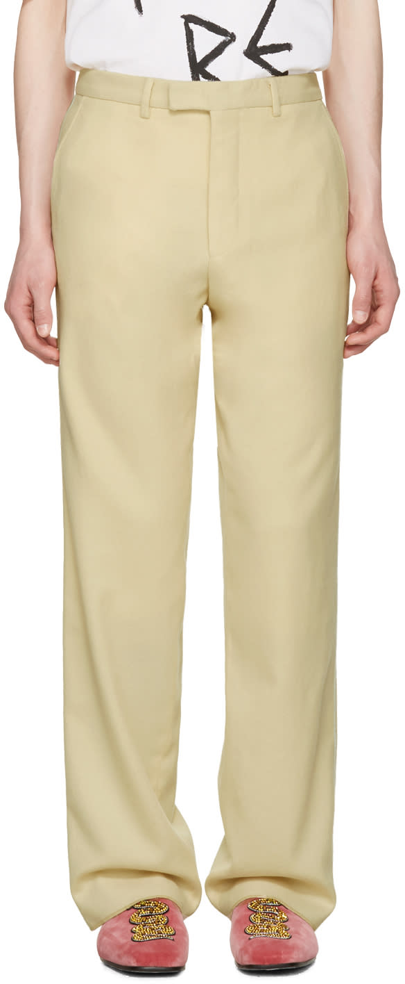 Gucci Ivory Wool Flannel Trousers