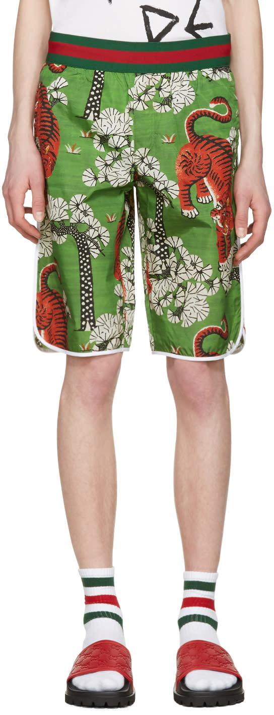 gucci female gucci green bengal swim shorts