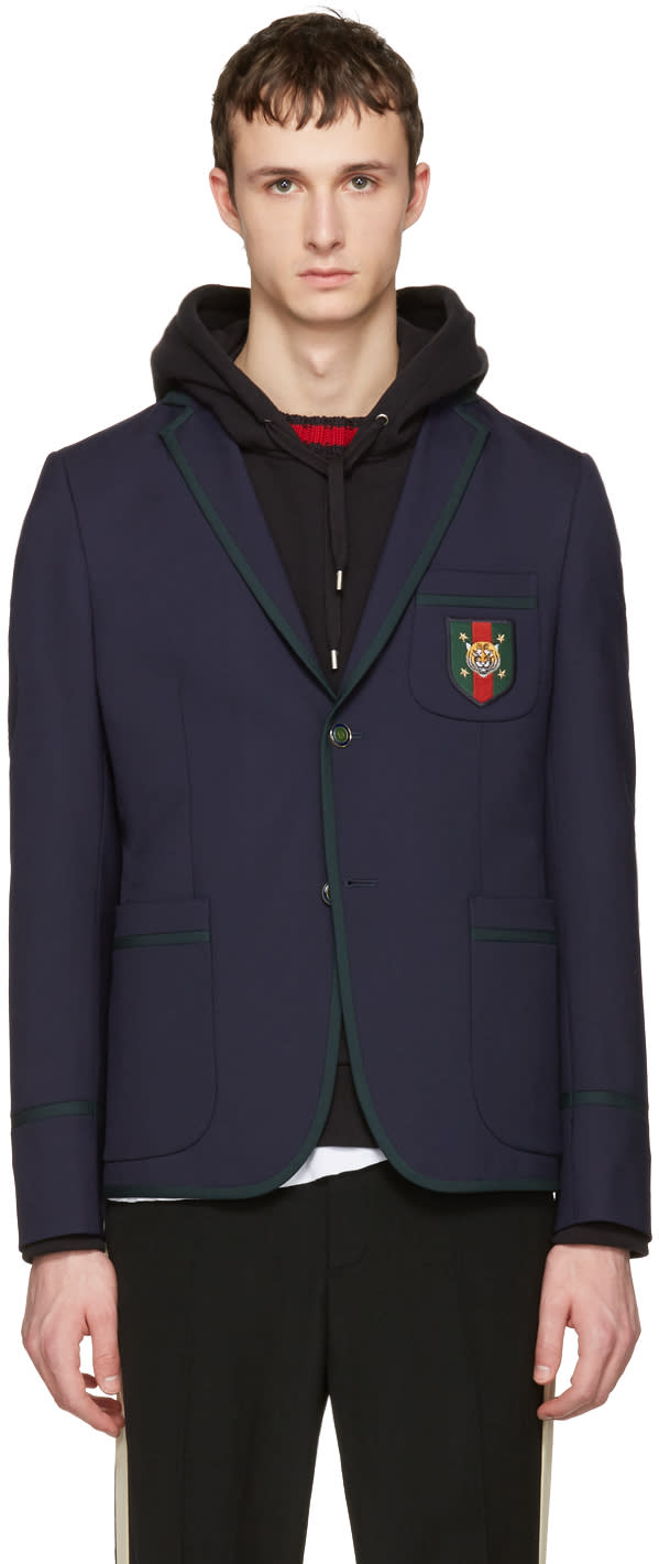 gucci male gucci navy formal cambridge blazer