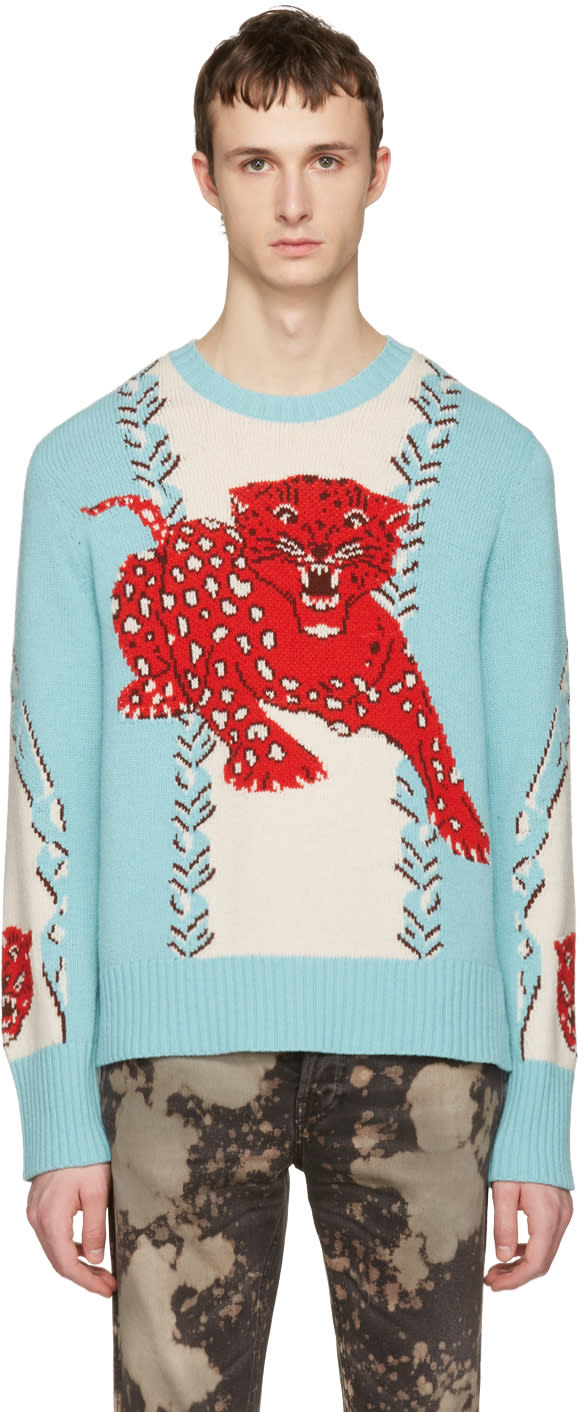 gucci male gucci blue serenity leopard sweater