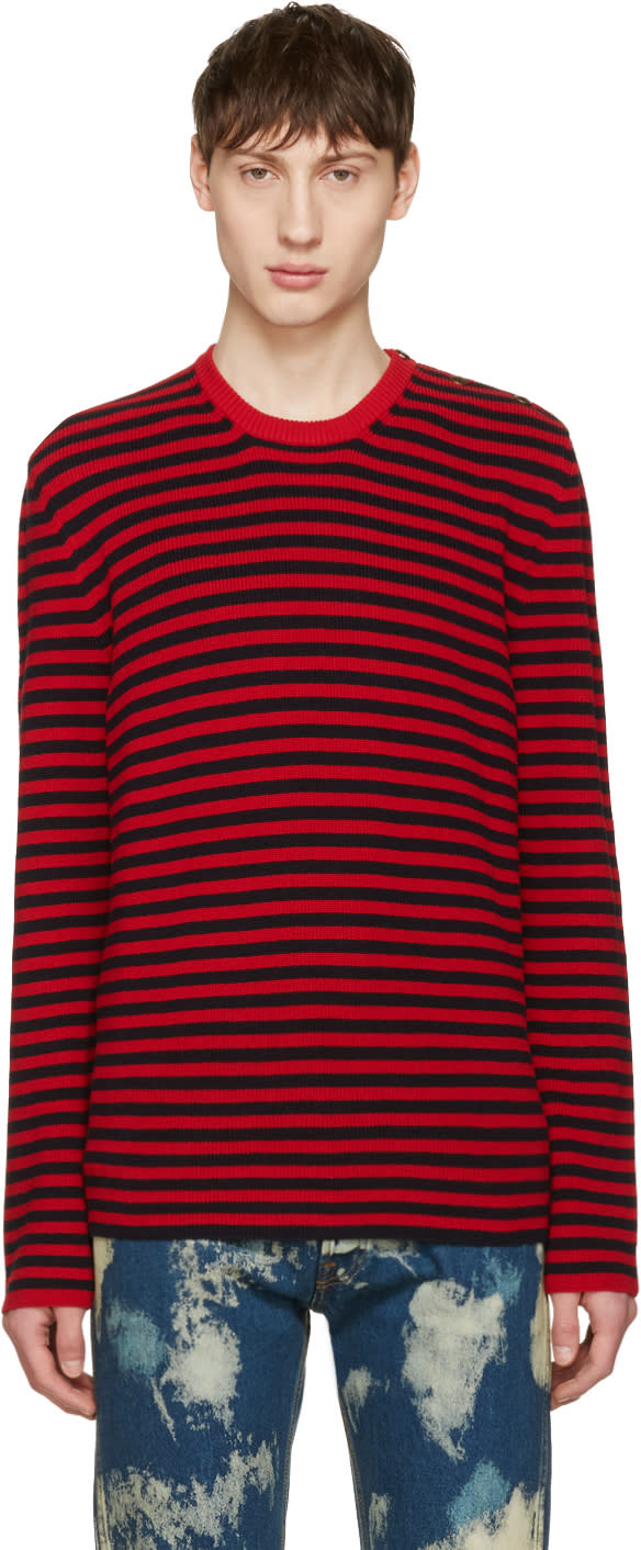 gucci male gucci red and black stripes sweater