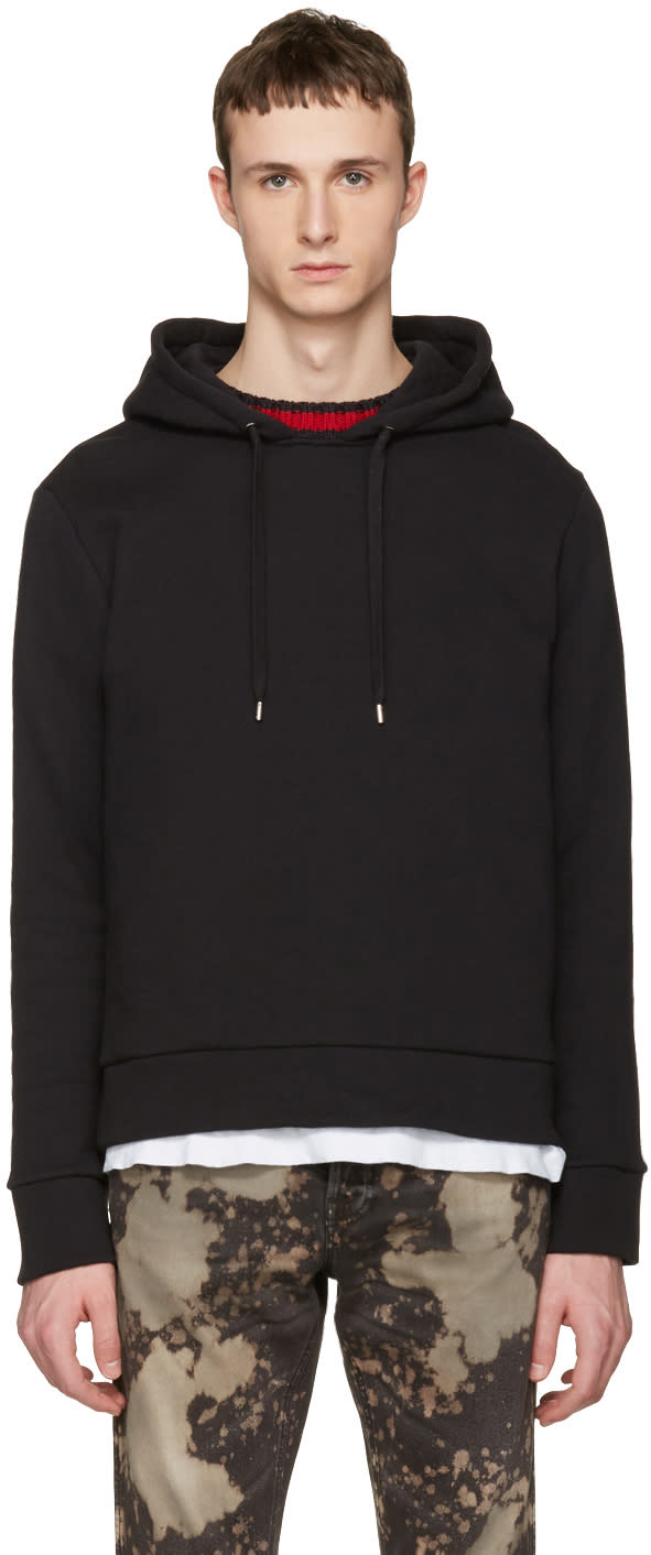gucci male gucci black cable knit trim hoodie