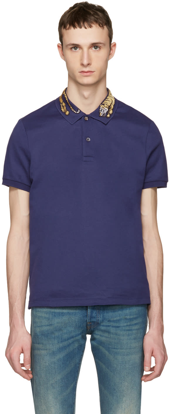 gucci male gucci navy tiger polo