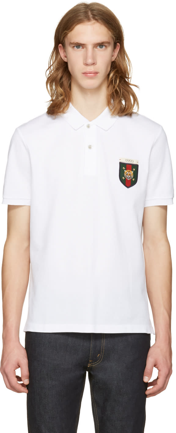 d9ef30321 Gucci White Embroidered Tiger Crest Polo