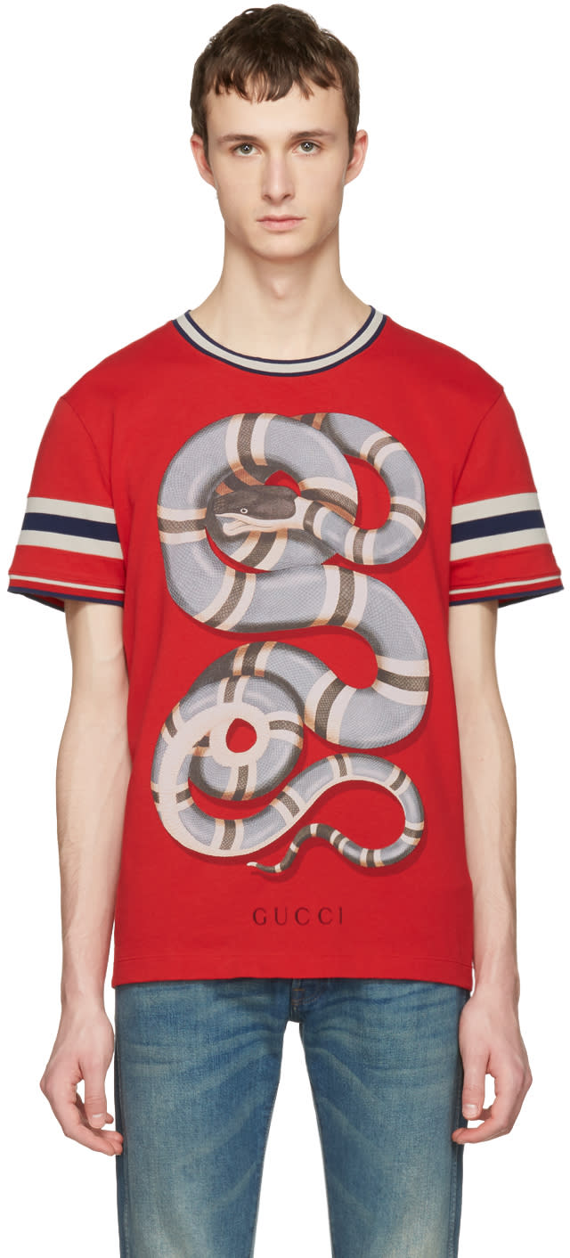 gucci male gucci red snake tshirt