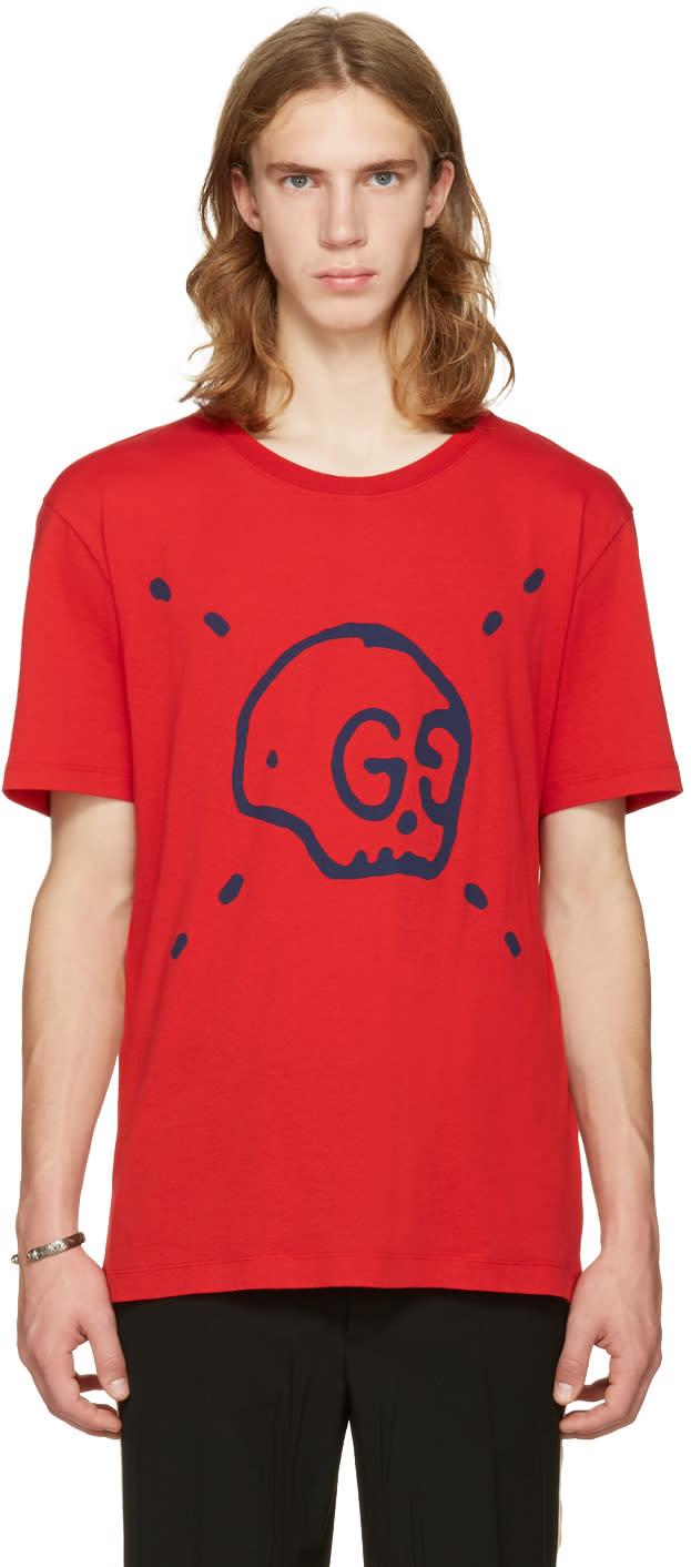 gucci male 250960 gucci red gucci ghost tshirt