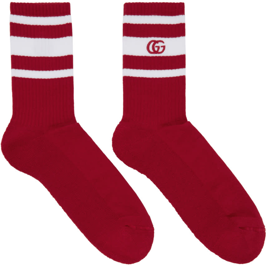 gucci male gucci red and white logo running socks