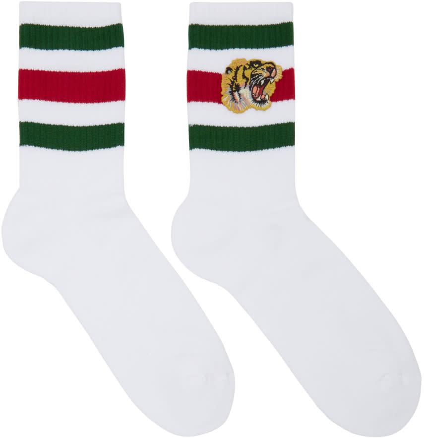 gucci male 45883 gucci white little william tiger socks