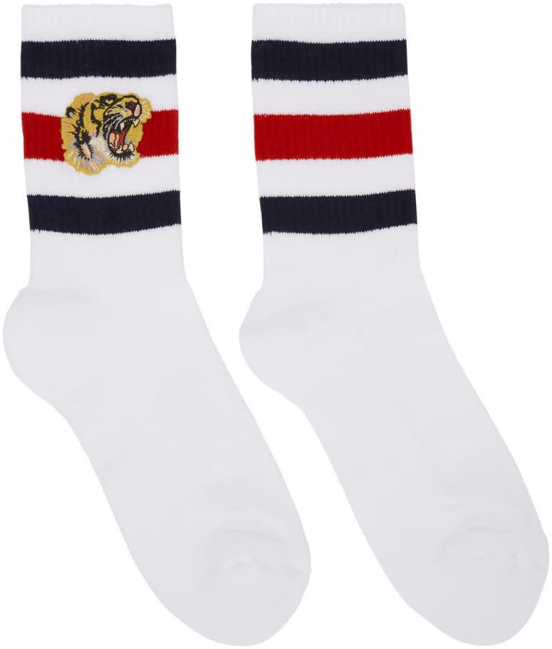 gucci male gucci white tiger socks