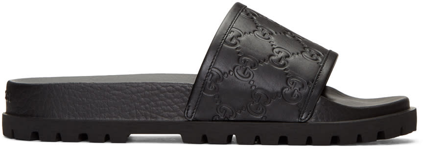 c457bebc3151f5 Gucci Black Pursuit Trek Slide Sandals