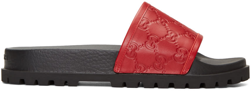 Gucci Red Pursuit Trek Slide Sandals