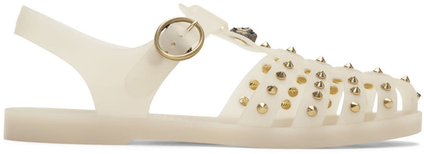 Gucci Off-white Studded Rubber Sandals