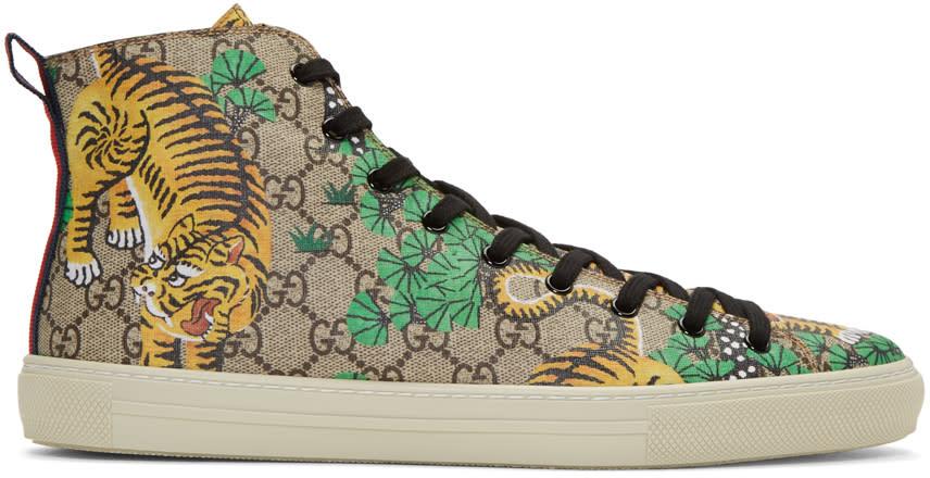 gucci male 263045 gucci tan major tiger hightop sneakers